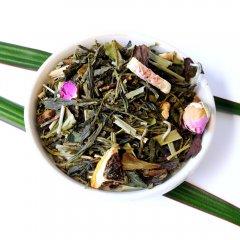 Lady in Pink Natürlich, grüner, weißer Tee in Harmonie mit Feigen und echten Rosenblüten